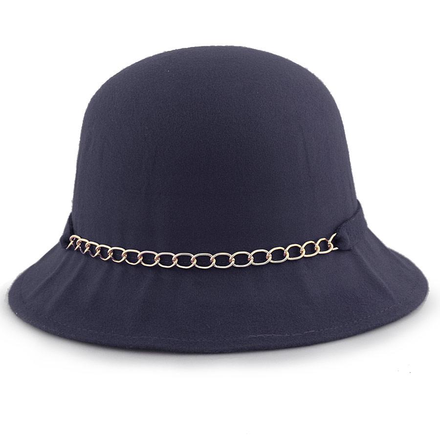 Γυναικεία καπέλα με αλυσίδα και φιόγκο Μπλε