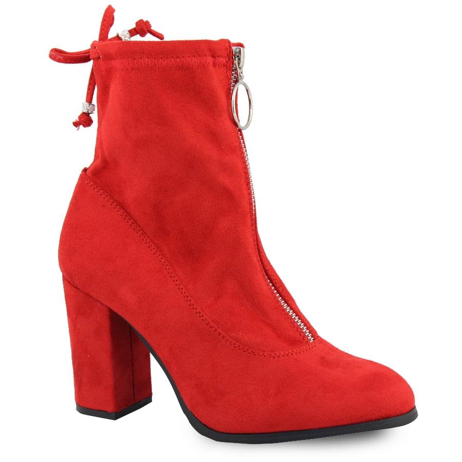 Γυναικεία μποτάκια με φερμουάρ Κόκκινο