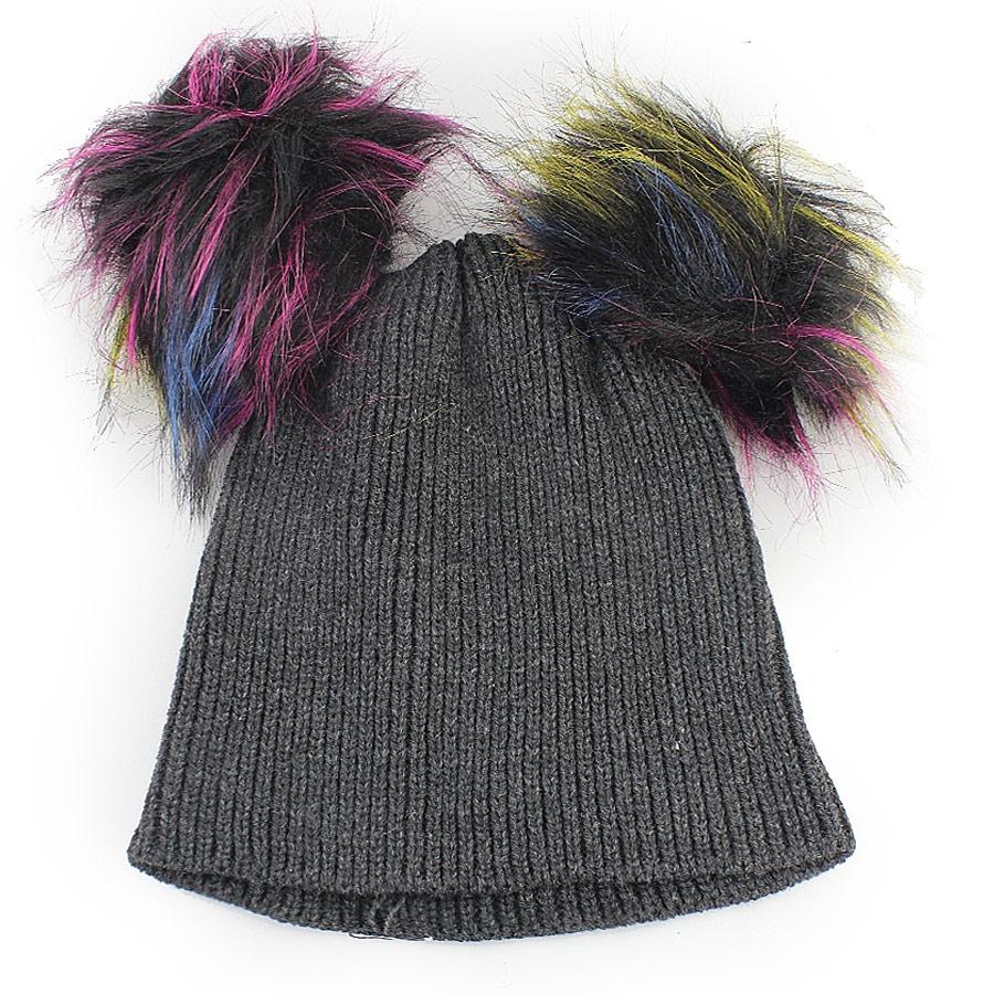 Γυναικείοι σκούφοι με πολύχρωμα φουντάκια Γκρι/Μαύρο