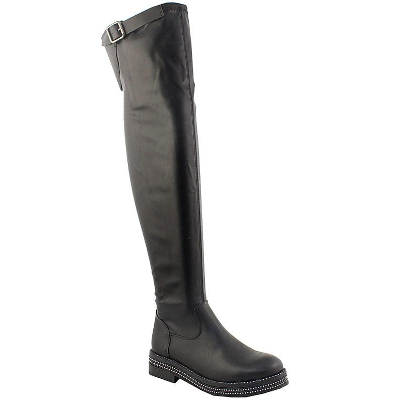 Γυναικείες μπότες με περιμετρικά strass Μαύρο