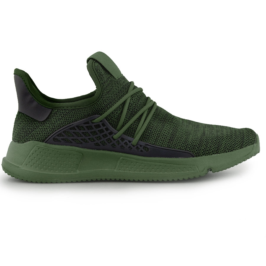 Ανδρικά sneakers με ανάγλυφα σχέδια στην σόλα Χακί