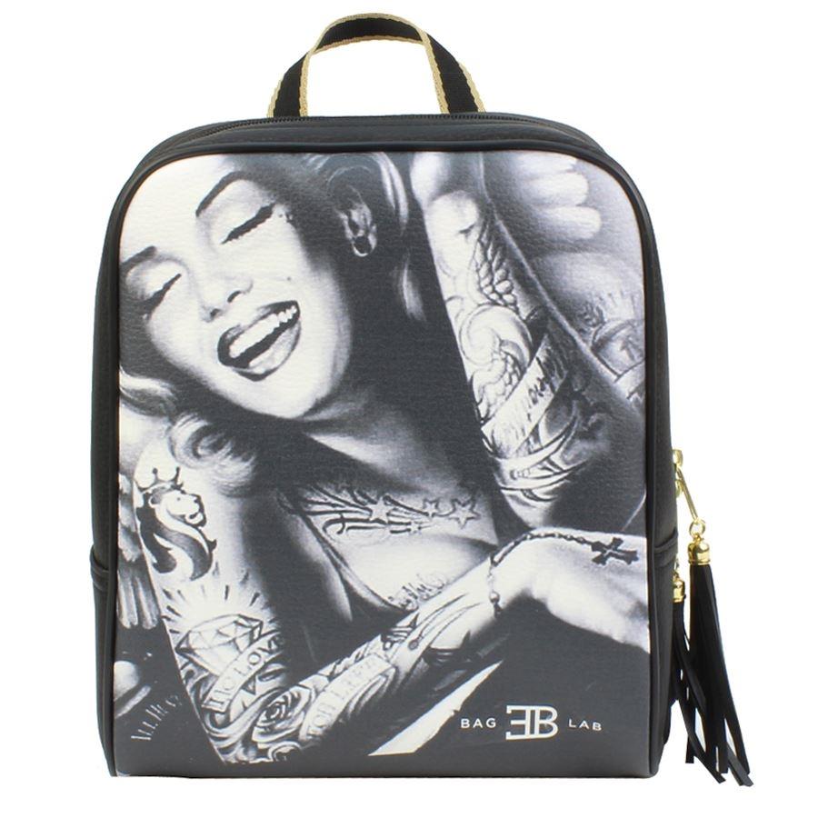 Γυναικεία σακίδια πλάτης με Marilyn με tattoo Μαύρο