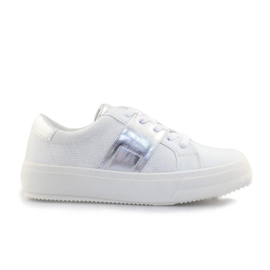 Γυναικεία sneakers με μεταλιζέ λεπτομέρειες Λευκό/Ασημί