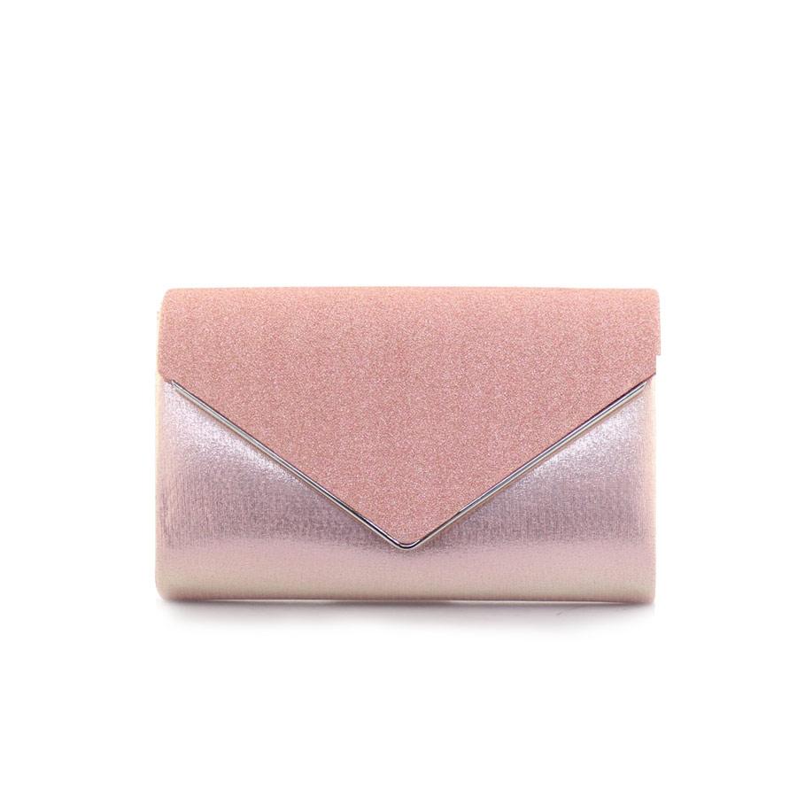 Γυναικείοι φάκελοι μεταλιζέ με glitter Ροζ