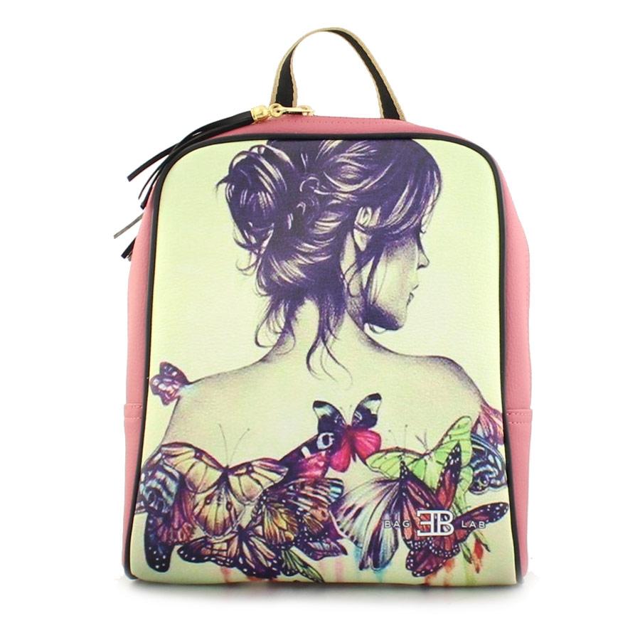 Γυναικεία σακίδια πλάτης με κοπέλα με πεταλούδες Ροζ