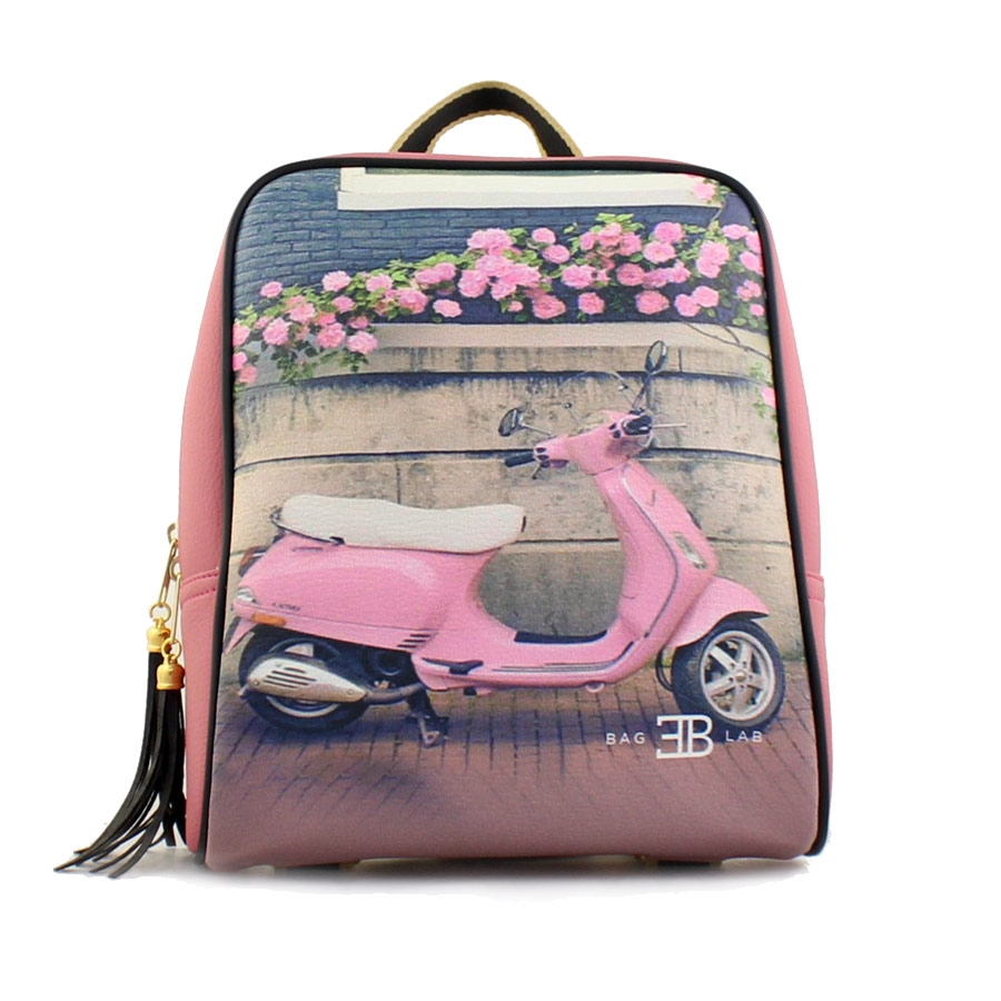 Γυναικεία σακίδια πλάτης με print pink vespa Ροζ