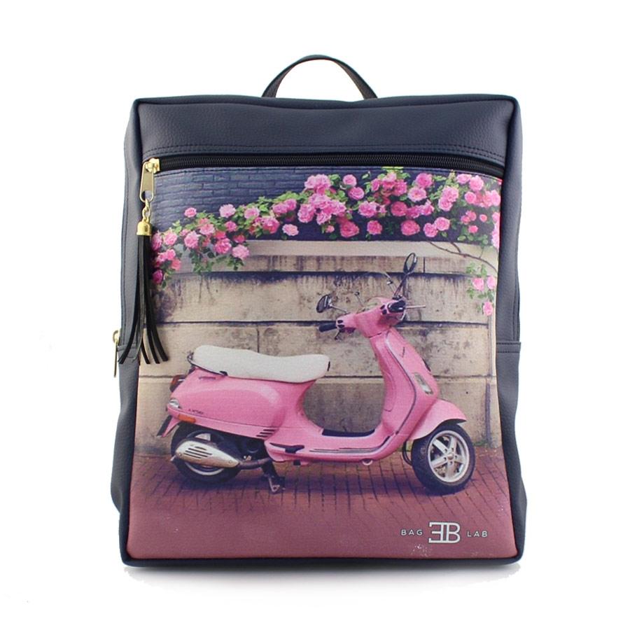 Γυναικεία σακίδια πλάτης με print pink vespa Navy