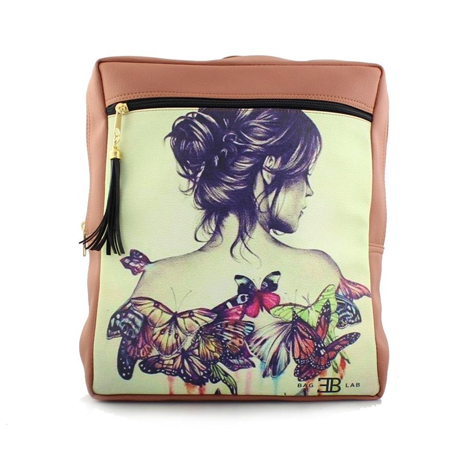 Γυναικεία σακίδια πλάτης με γυναίκα με πεταλούδες Ταμπά