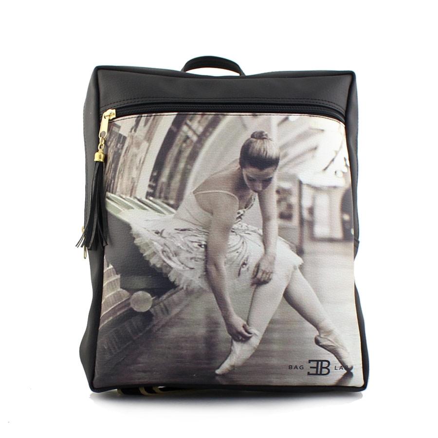 Γυναικεία σακίδια πλάτης με print μπαλαρίνα Μαύρο