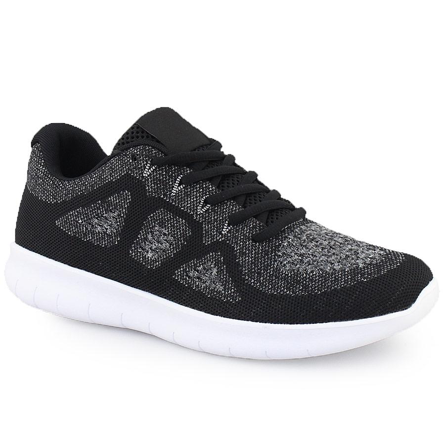 Ανδρικά sneakers δίχρωμα με γκοφρέ μοτίβο Μαύρο