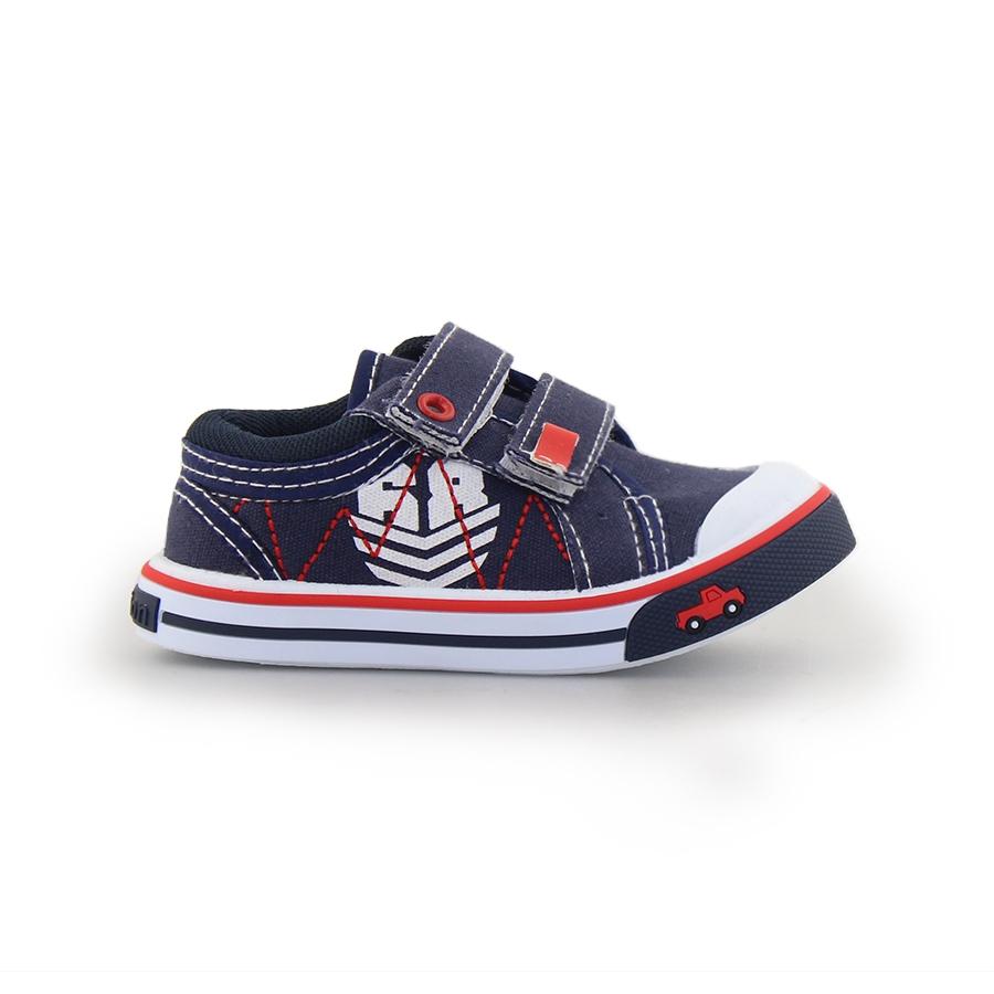 Παιδικά sneakers με διπλά αυτοκόλλητα Navy