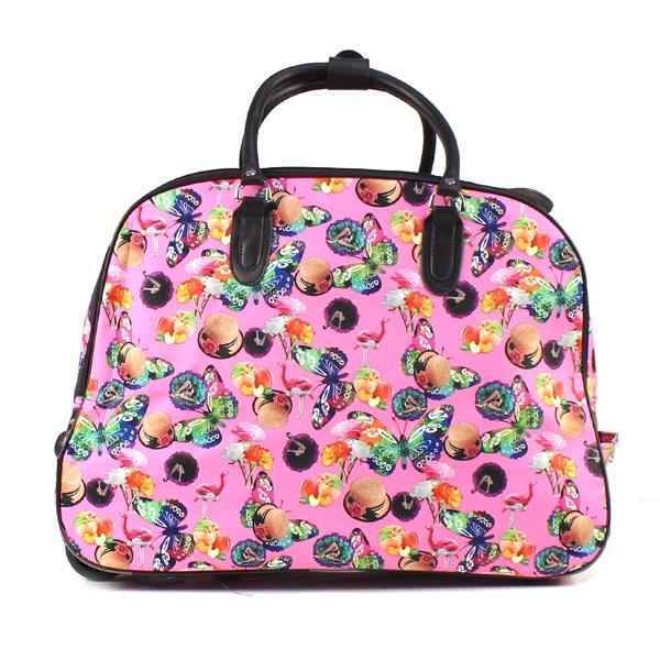 Γυναικείες τσάντες ταξιδίου με πολύχρωμα σχέδια Ροζ