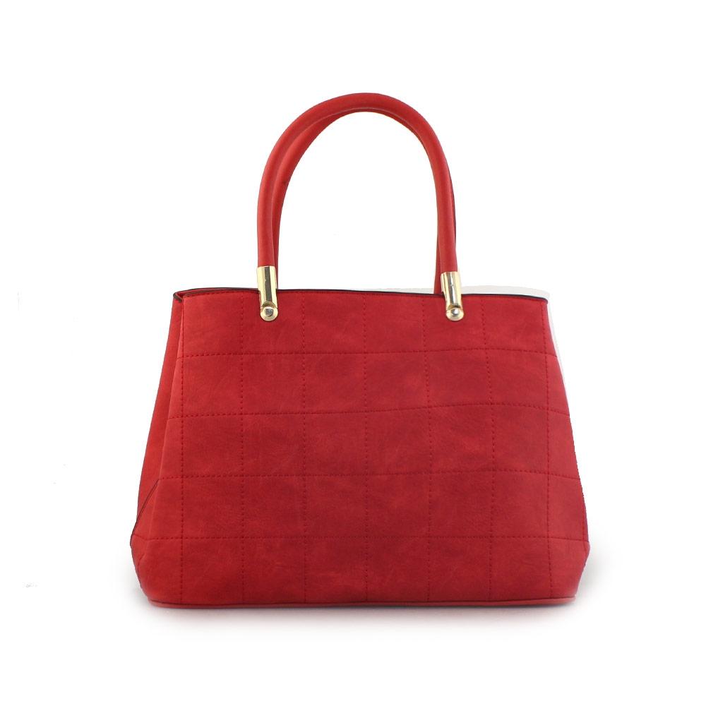 Γυναικείες τσάντες χειρός με διακοσμητικές ραφές Κόκκινο