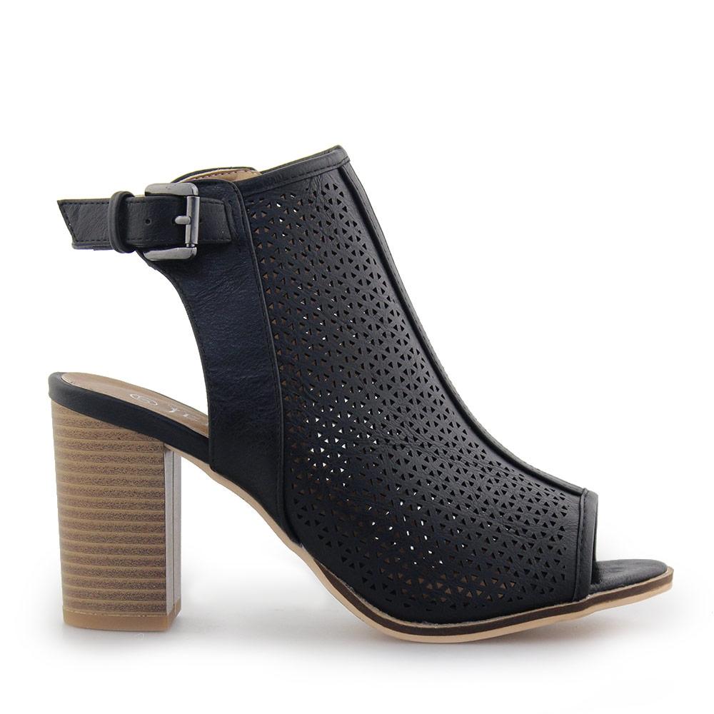 Γυναικεία πέδιλα peep toe με τοκά Μαύρο γυναικα   παπούτσια   πεδιλα