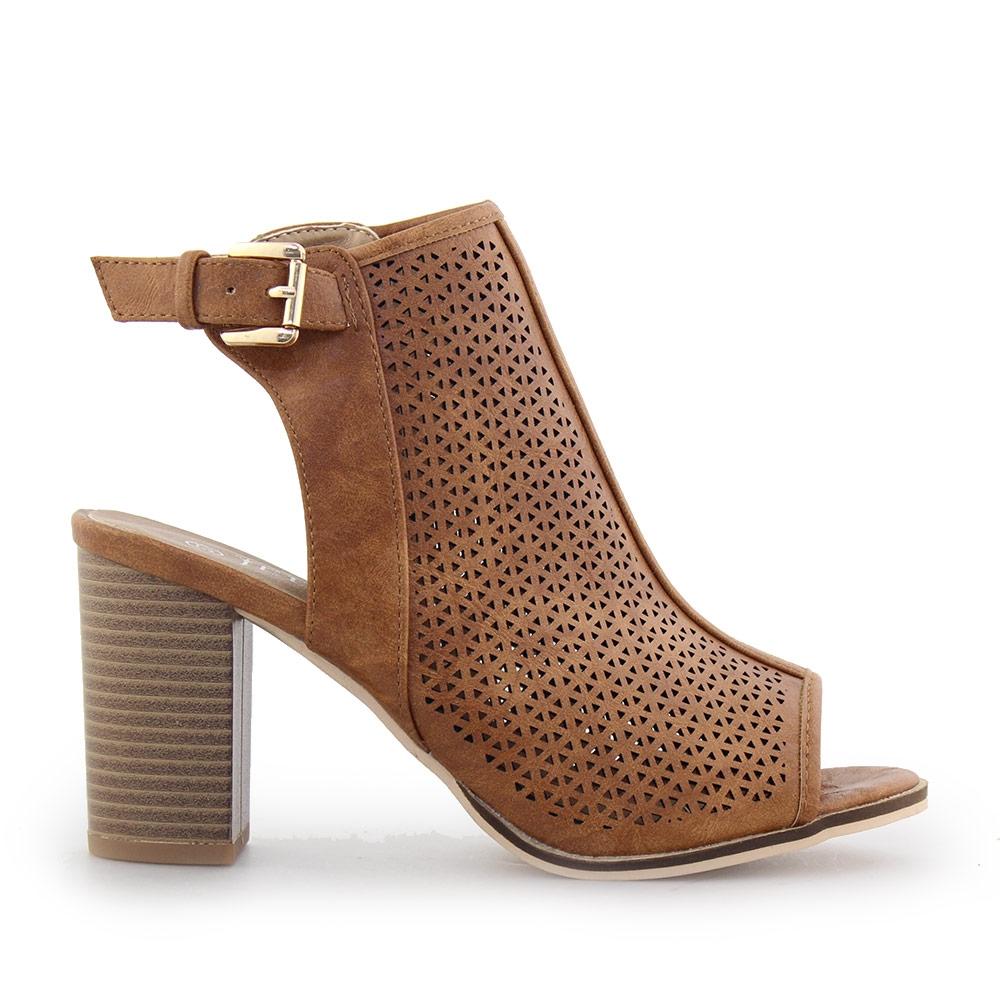 Γυναικεία πέδιλα peep toe με τοκά Ταμπά γυναικα   παπούτσια   πεδιλα