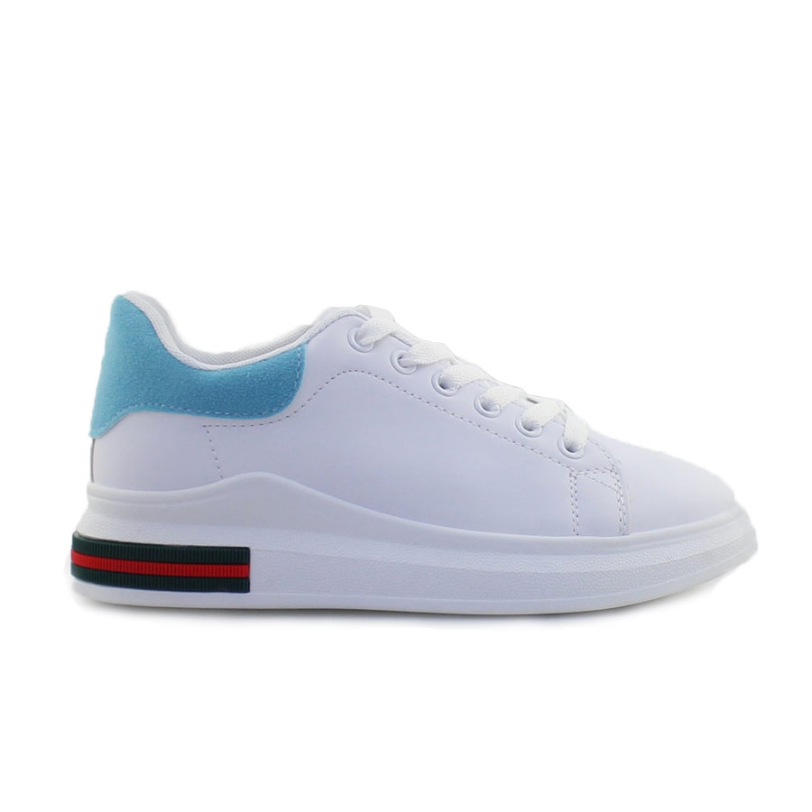 Γυναικεία sneakers με δίχρωμο σχέδιο Λευκό/Σιέλ