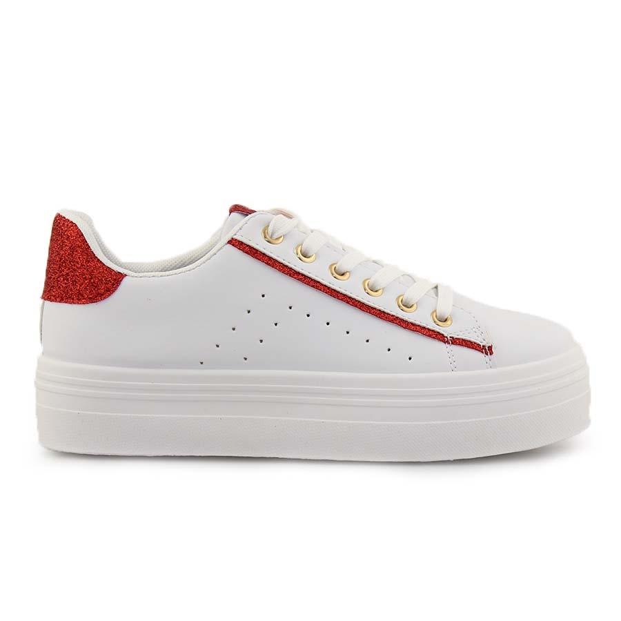 Γυναικεία sneakers με διακοσμητικό glitter Λευκό/Κόκκινο