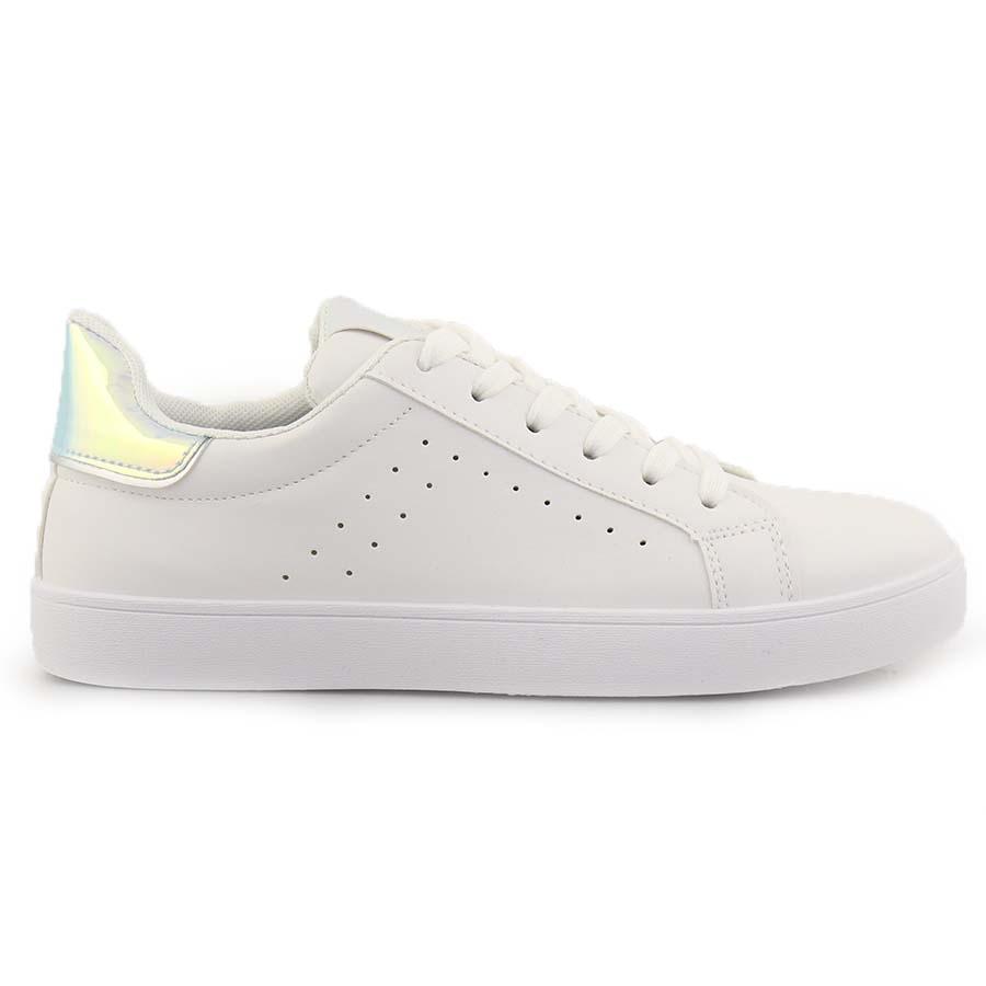 Γυναικεία sneakers με λεπτομέρεια Λευκό/Ασημί