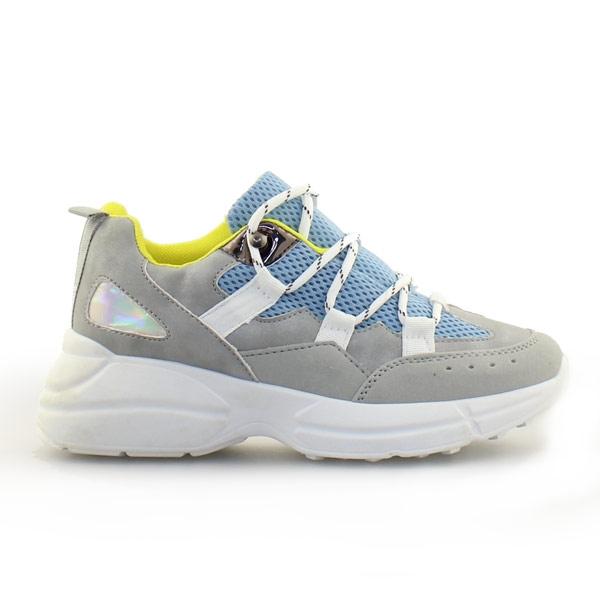 Γυναικεία sneakers με ριγέ κορδόνια Σιέλ