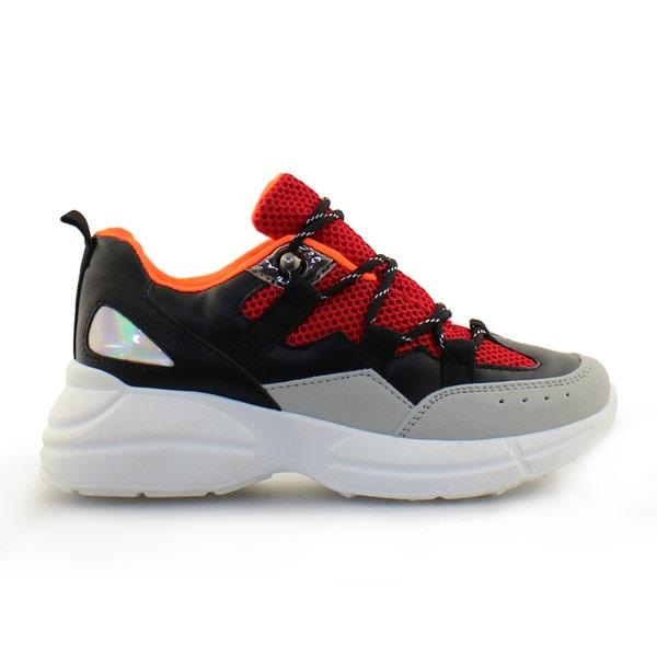 Γυναικεία sneakers με ριγέ κορδόνια Μαύρο