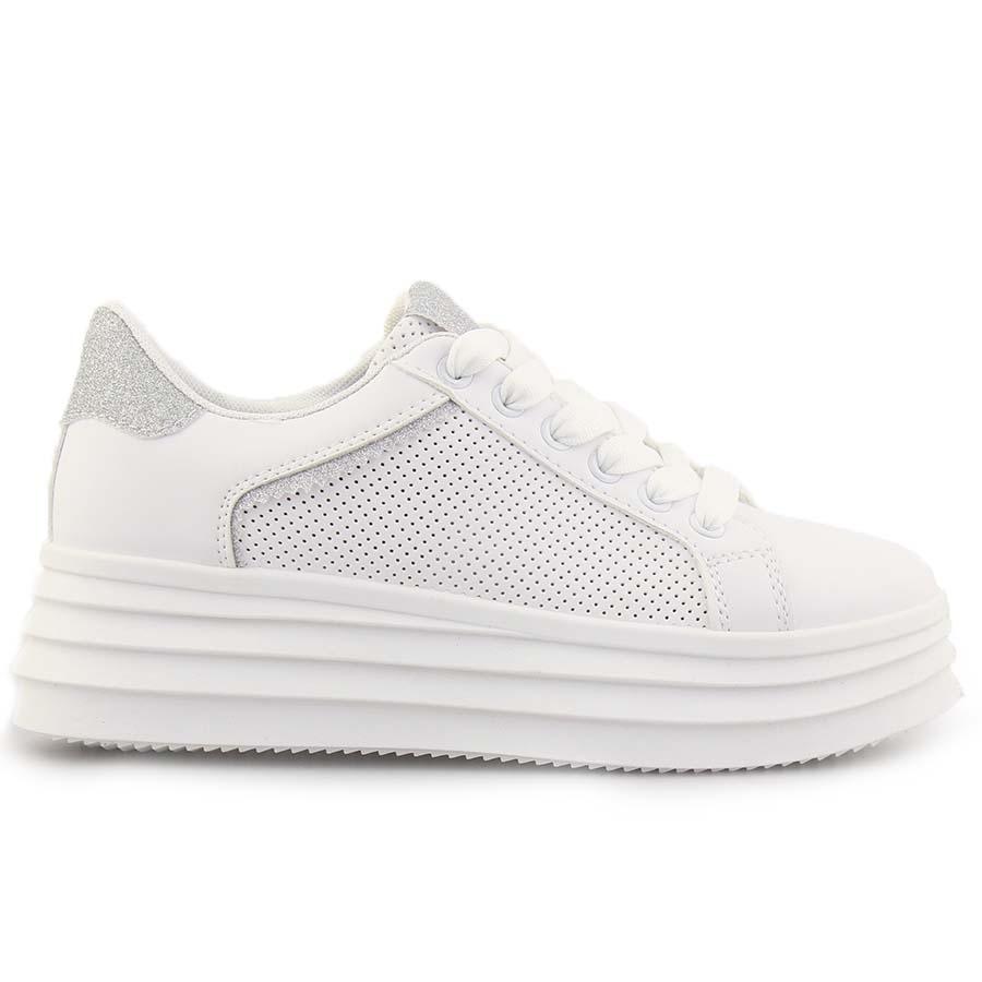 Γυναικεία sneakers με λεπτομέρεια από glitter Λευκό/Ασημί