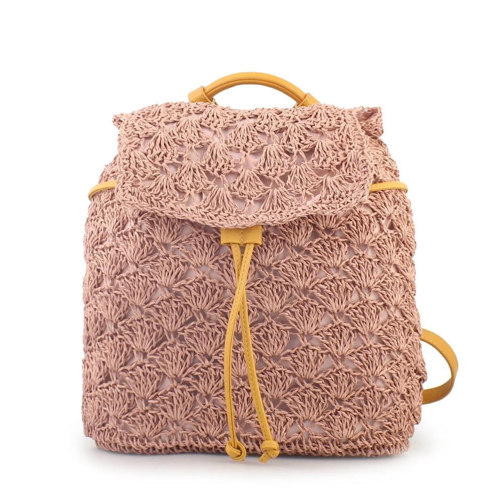 Γυναικεία σακίδια πλάτης πλεκτά Ροζ Σκούρο