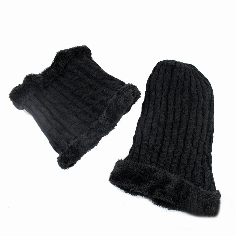 Γυναικείοι σκούφοι με σετ κασκόλ Μαύρο
