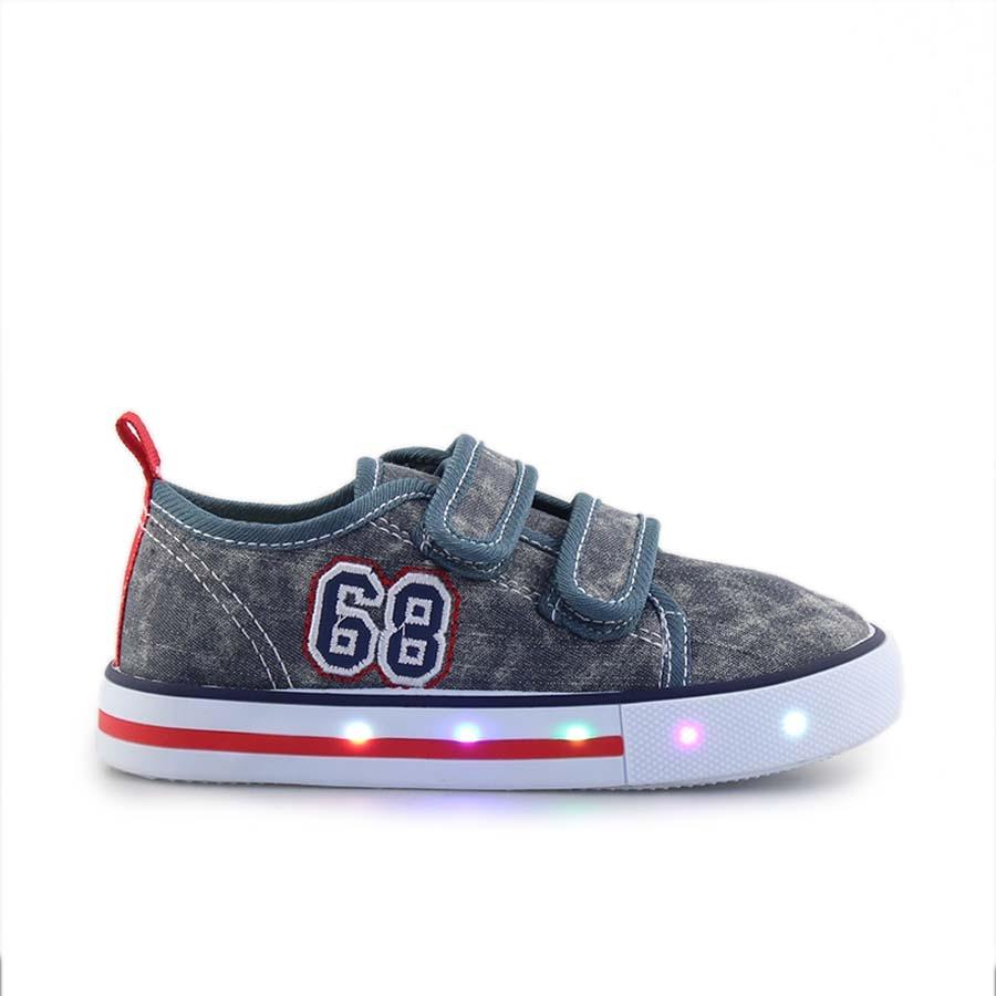Παιδικά sneakers με διπλά αυτοκόλλητα και φωτάκια Γκρι