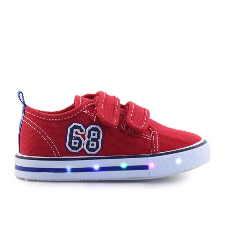 Παιδικά sneakers με διπλά αυτοκόλλητα και φωτάκια Κόκκινο