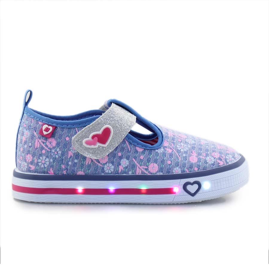 Παιδικά sneakers με αυτοκόλλητο και φωτάκια Τζιν