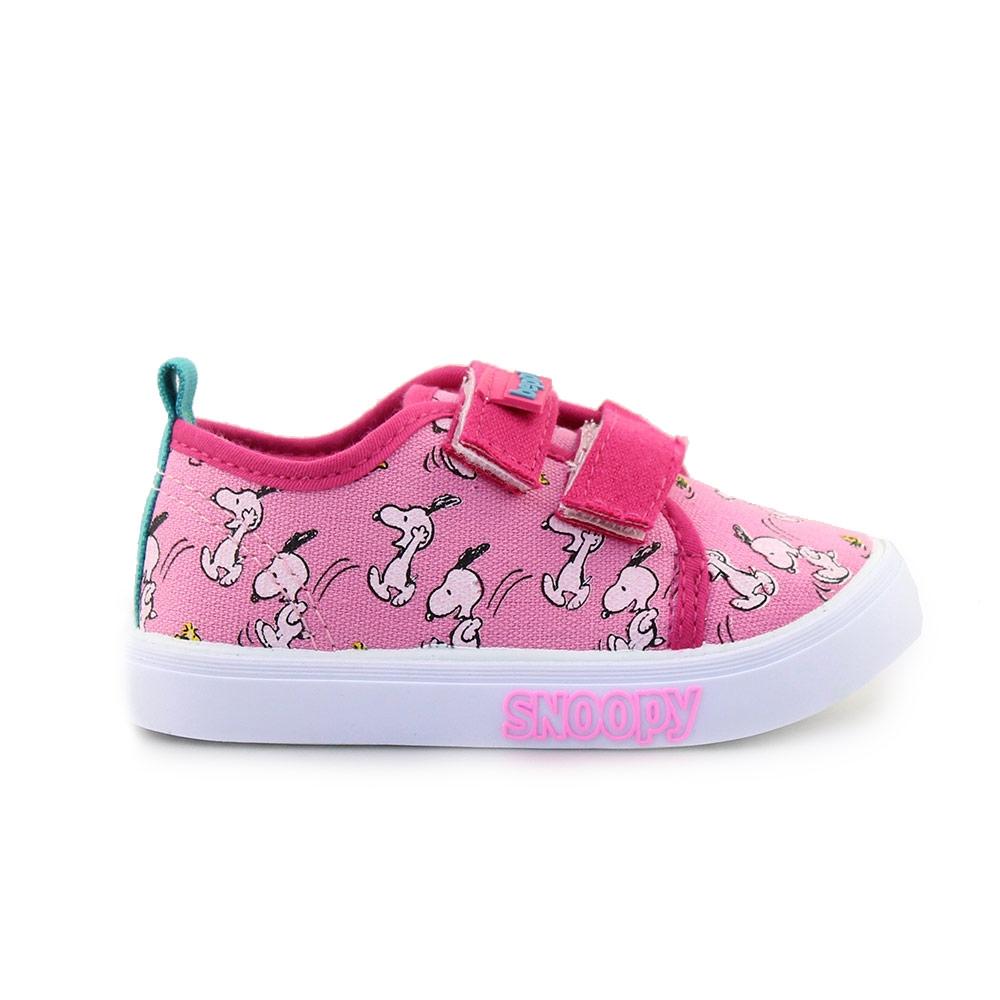 Παιδικά sneakers Snoopy με αυτοκόλλητα Φούξια