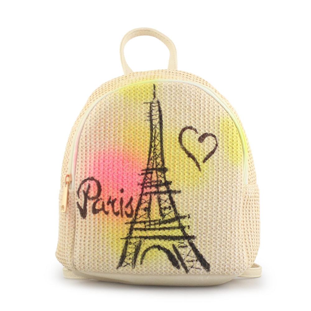 Γυναικεία σακίδια πλάτης με print Paris Μπεζ