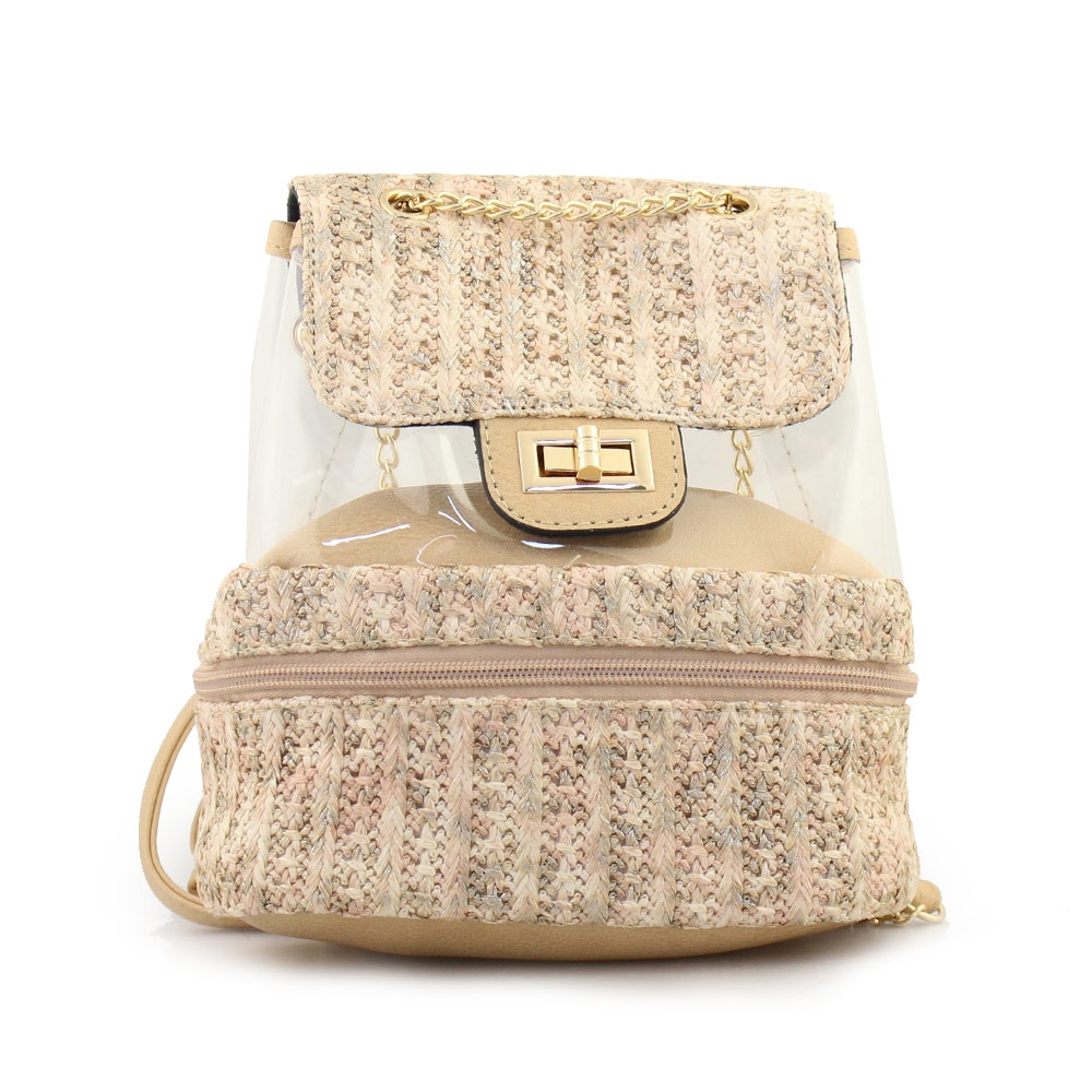 Γυναικεία σακίδια πλάτης με ψάθα και διαφάνεια Μπεζ