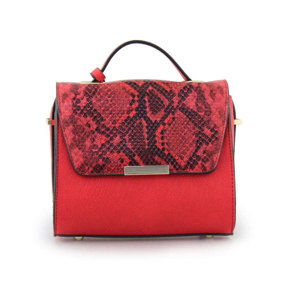 Γυναικείες τσάντες χειρός με κροκό λεπτομέρεια Κόκκινο