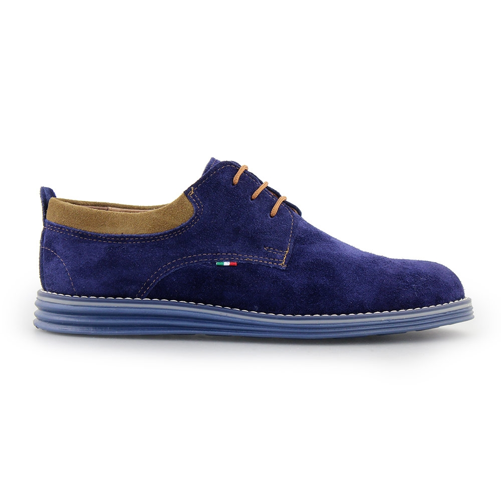 Ανδρικά loafers καστόρινα με διχρωμία Μπλε