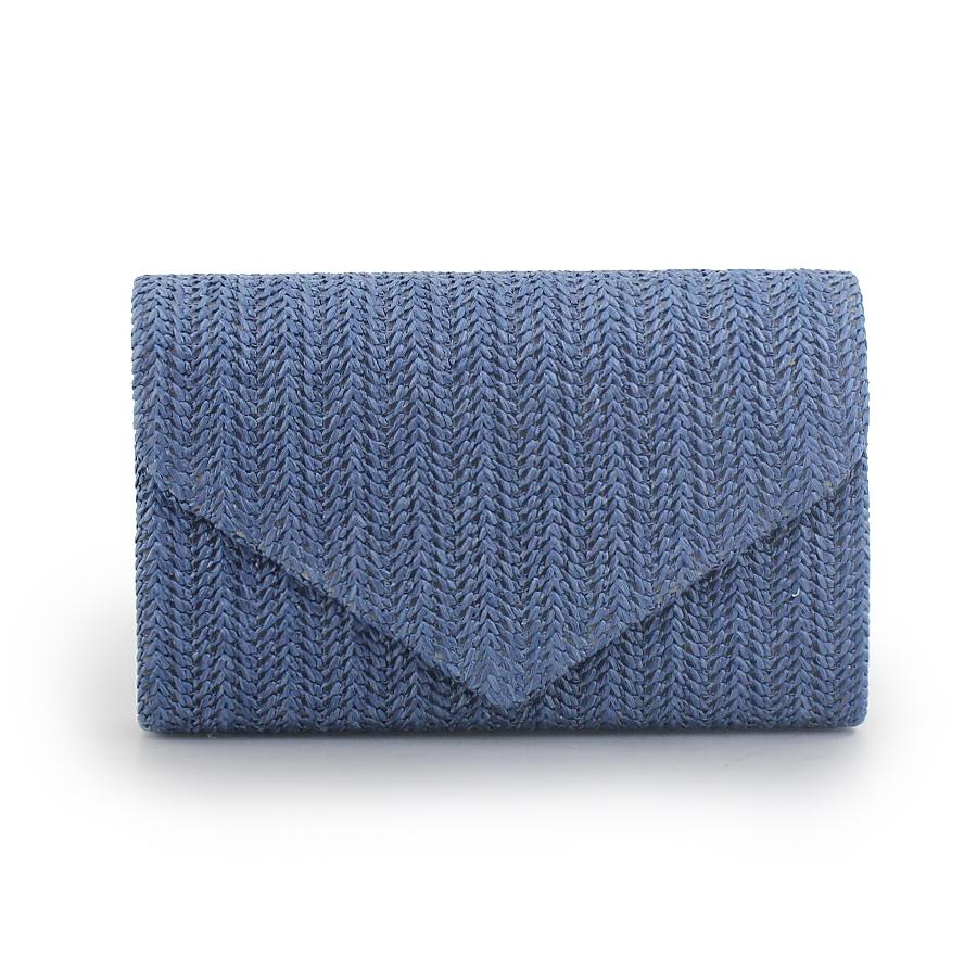 8d6167cd9c Γυναικείοι φάκελοι ψάθινοι με τριγωνικό καπάκι Μπλε. Inshoes