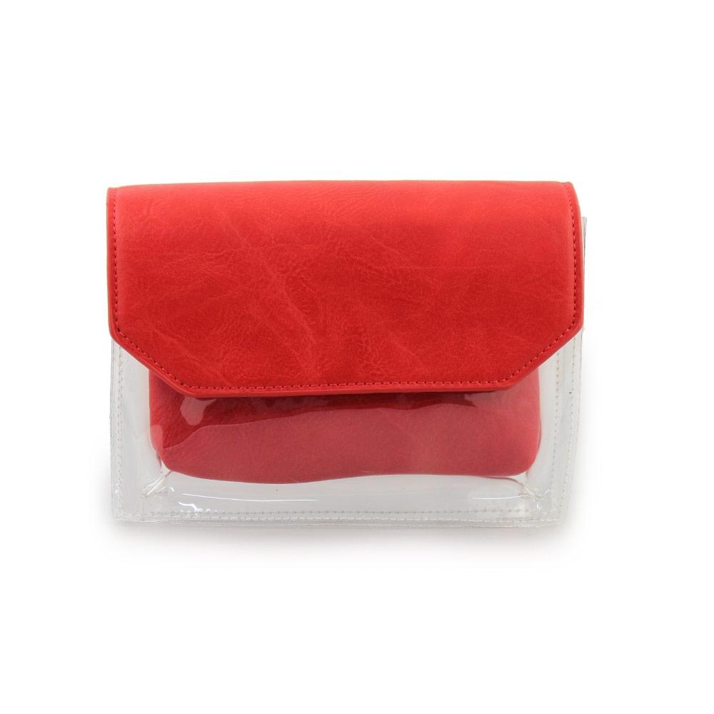 Γυναικείες τσάντες ώμου διάφανες με τσαντάκι Κόκκινο