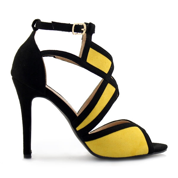 Γυναικεία πέδιλα δίχρωμα Κίτρινο