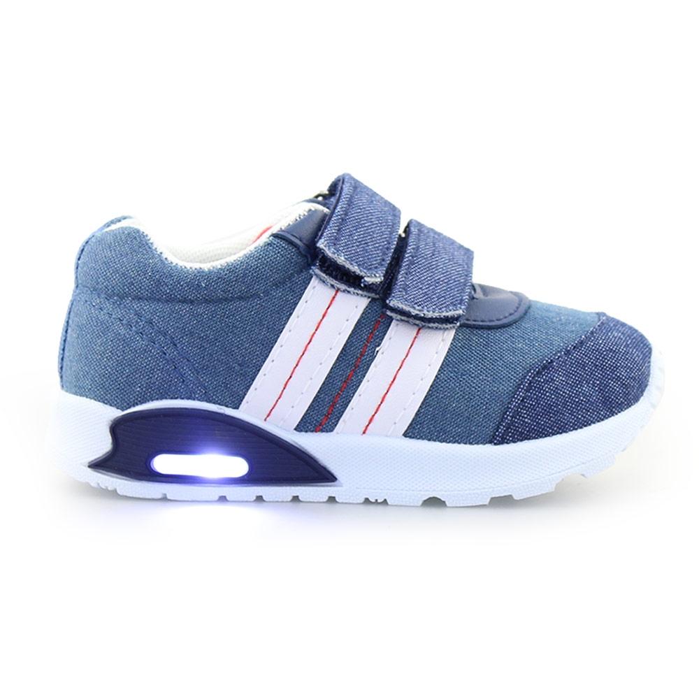 Παιδικά sneakers με φωτάκια και ρίγες Τζιν