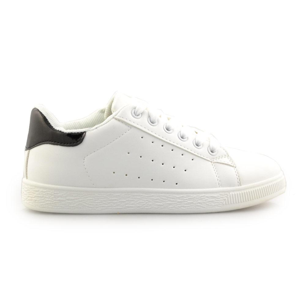 Γυναικεία sneakers μονόχρωμα περφορέ Λευκό/Μαύρο