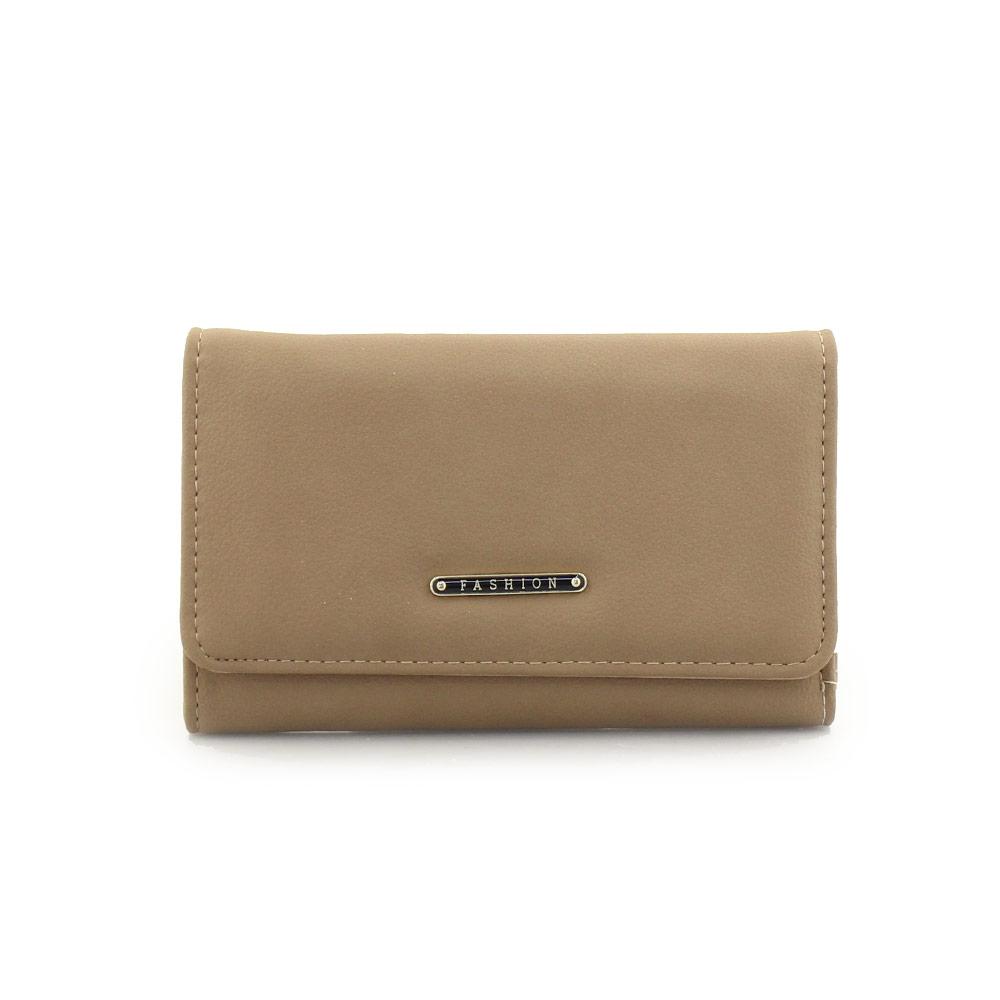 5e4c1eb104 Γυναικεία πορτοφόλια μονόχρωμα με μεταλλική λεπτομέρεια Πούρο