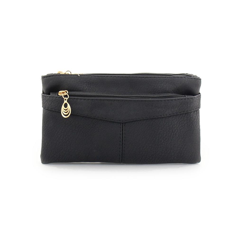 6664468fdb Inshoes Γυναικεία πορτοφόλια με διακοσμητικό στο φερμουάρ Μαύρο