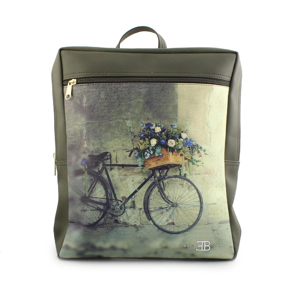 Γυναικεία σακίδια πλάτης με ποδήλατο και λουλούδια Πράσινο