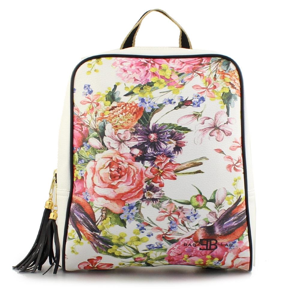 Γυναικεία σακίδια πλάτης με πολύχρωμα λουλούδια Λευκό