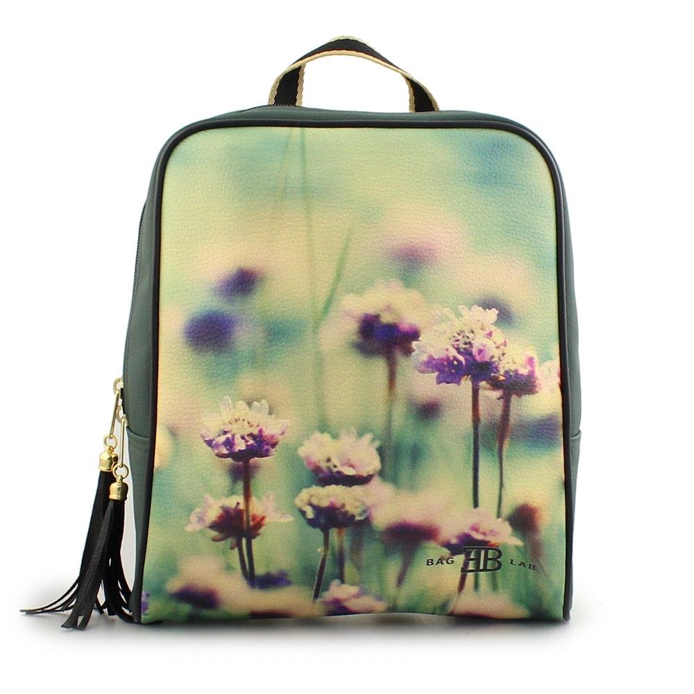 Γυναικεία σακίδια πλάτης με print άνθη Πράσινο