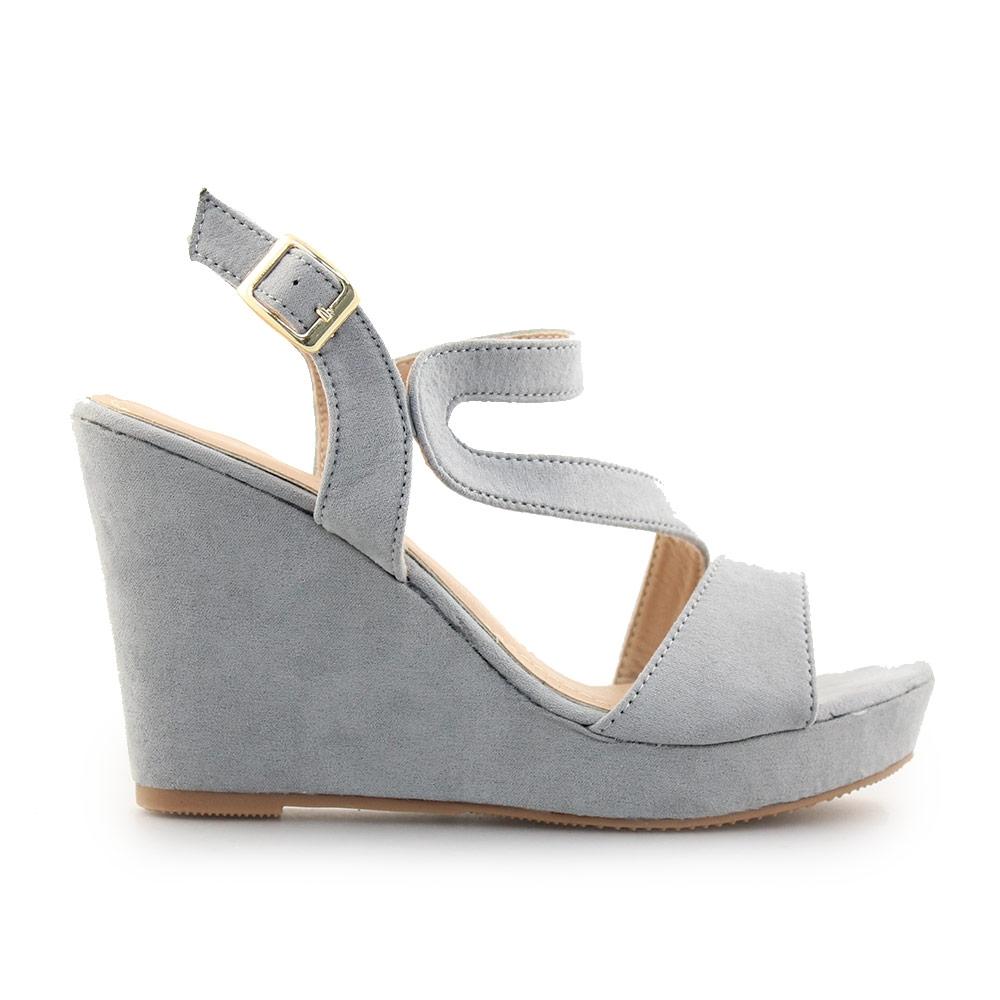 1a04b2e90fe -20% Inshoes Γυναικείες πλατφόρμες με λεπτομέρειες από λουράκια Γκρι