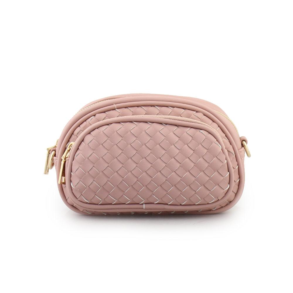 Γυναικείες τσάντες μέσης με ανάγλυφο μοτίβο Ροζ