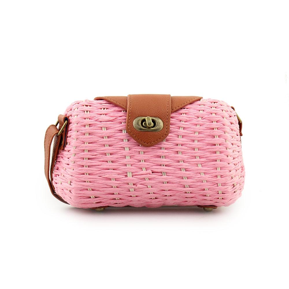 Γυναικείες τσάντες ώμου ψάθινες με πλέξη Ροζ