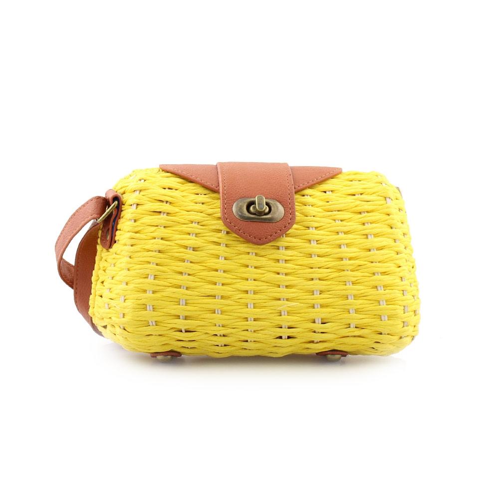 Γυναικείες τσάντες ώμου ψάθινες με πλέξη Κίτρινο