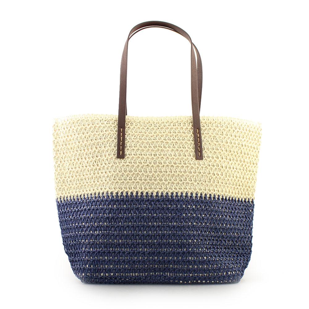 Γυναικείες τσάντες θαλάσσης ψάθινες Μπεζ/Μπλε